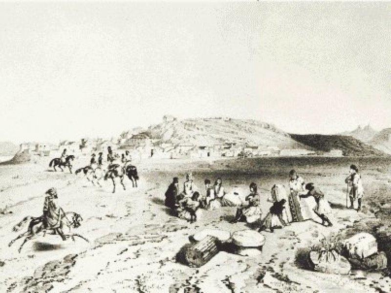 Σκηνή απο το στρατόπεδο της Ελευσίνας. Σχέδιο του Th. Du Moncel στο βιβλίο Vues pittoresques des monuments d' Athenes, Paris 1845